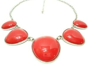 """WOMENS FASHION STATEMENT NECKLACE RED PLASTIC CABACHONS SILVER TONE CHAIN 17.5"""""""