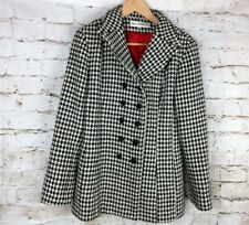Vintage Norm Thompson Women's Sz Small Houndstooth Coat Ornate Buttons Wht/Black