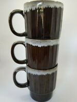 Vintage Japan Brown Drip Glaze Stackable Coffee Mugs Set of 3