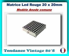 *** MATRICE LED 8X8 / MODELE MINIATURE : 20x20MM ROUGE ANODE COMUNE/ ARDUINO ***