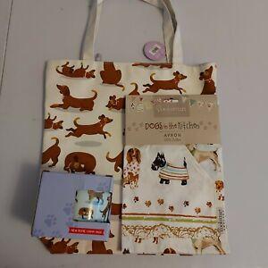 dog patterned zipped tote bag with dog themed cotton apron and dog mug