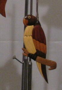 NATURAL COLOR HARDWOOD CARVED INTARSIA WOOD ORNAMENT BIRD PARROT