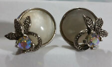 VINTAGE ART DECO AURORA BOREALIS AND MOTHER OF PEARL MARCASITE EARRINGS , 2.3cm