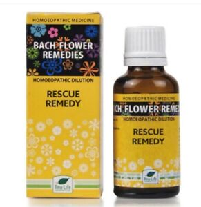 New Life Bach Flower Rescue Remedy (30ml) For Stress, unwanted thoughts, fear,