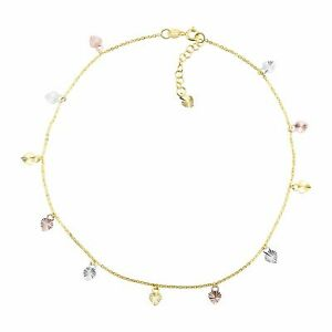 """Welry 'Gold Heart Charm Anklet' in 10K Three-Tone Gold, 10"""" + 1"""""""