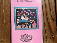 "BLESS YOU ANGEL Quilt Pattern Applique 47""x44""  Flying Over Houses Stars Trumpet"