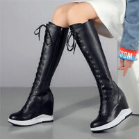 Women Leather Round Toe Fashion Sneaker Knee High Boots Platform Wedge High Heel