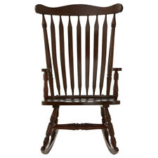 Premier Housewares Brown Solid Wood Rocking Chair Vintage Style Relaxing Stool