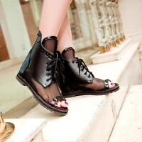 Womens Peep Toe Gladiator Flat Mesh Breathable Ankle Boots Sandals Lace Up Shoes