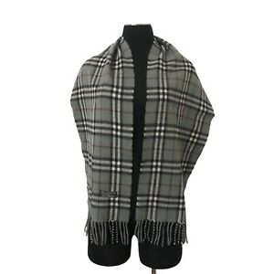 Authentic Burberrys Of London Lambswool Checker Long Wrap Stole Scarf Grey