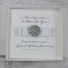 Luxury Diamond 60th Wedding Anniversary Personalised Handmade Card with Envelope