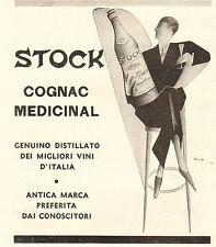 PUBBLICITA 1931 STOCK COGNAC MEDICINAL DISTILLATO BOTTIGLIA DISTINZIONE UOMO