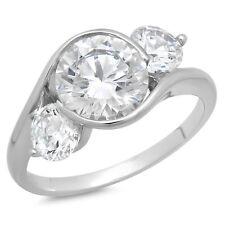 3.4 CT corte redondo 3 Piedra Anillo de compromiso de boda nupcial aniversario de oro blanco 14k