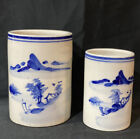 Vintage Pair Of Asian Blue & White Pottery Brush Pots Jars Chinoiserie Free ship