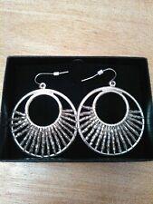 Avon Sea and Sky Beaded Hoop Earrings, silvertone