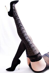 """80 DEN SIDE PATTERNED LACE TOP LUXURY HOLD UP STOCKINGS """"AMELIA L"""""""