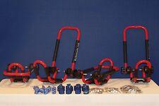 2 Sets Fire Engine Red Roof Mounted Folding Kayak J-Style Racks PK-KR FOLD RED-2