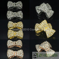 10Pcs Side Ways Crystal Rhinestones Pave Bow Tie Bracelet Connector Charm Beads