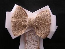 Pew Bows Wedding Church Venue Decor Shabby Chic Rustic Vintage Personalised Best