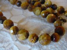 """(v310-D) 21"""" long faceted tan Brown tiger's eye gemstone beaded Necklace JEWELRY"""