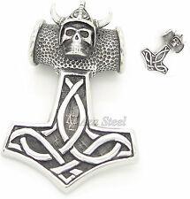 Thor'S Hammer Skull Knight Mjolnir Stainless Steel Pendant Free Chain Necklace