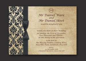 Wedding Invitations, Personalised, Day/Evening - Damask
