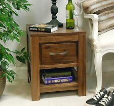 Oskar solid walnut home furniture one drawer side end lamp bedside table
