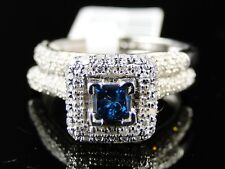 BLUE DIAMOND ENGAGEMENT BRIDAL WEDDING BAND RING SET