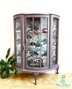 Made to order - Vintage Antique Drinks / Gin / China Cabinet Birds Lilac Purple