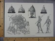 Rare Antique Original VTG Russian Crowns & Armour Illustration Art Print