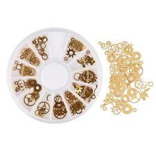 120pcs Glitter 3D DIY Nail Art Wheel Gold Stickers Steampunk Gear Shape Decor