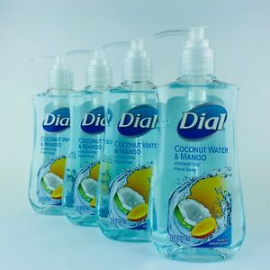 4-Pack Dial Coconut Water & Mango Hydrating Hand Soap 7.5 Fl.oz New