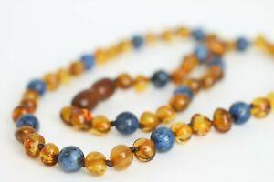 AMBER NECKLACE Polished Rounded Amber Beads & Lapis Lazuli Necklace 13-22 inch