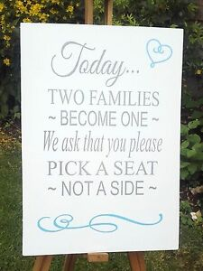 Wooden Rustic Wedding Church Ceremony Sign-Pick a Seat Not a Side-A4/A3/A2 size