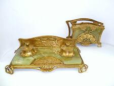 Jugendstil Schreibtischgarnitur um 1900 Frankreich Schweiz Bronze Onyx