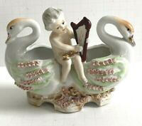 Vintage Chase Hand Painted Porcelain Cherub/Angel Two Swans Figurine Planter