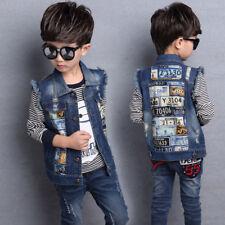 Kids Boys Trend Printing Denim Coat Jacket Waistcoat Vest Outerwear For Age 3-12
