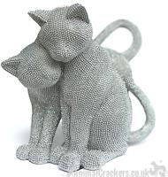 Glitzy glittery silver diamante Two Cats ornament figurine sculpture cat gift