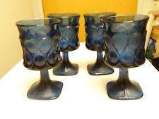 Vintage Glassware Mid Century Barware. 4 Noritake Spotlight in Blue Water Goblet