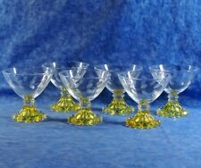 6 Vtg. Anchor Hocking Mid Century Laurel Etch Yellow Boopie Foot Sherbet Glasses