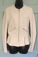 NWT New Zara Trafaluc Zip Up Jacket Sweater Women's Large Fall Coat Light Peplum