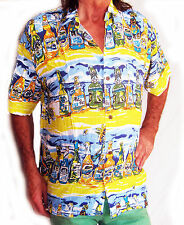 "LOUD Mens Hawaiian shirt, yellow with beer bottles,XL, 54"", STAG NIGHT,party,new"