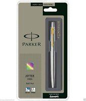 Parker Jotter Steel GT Gold Trim Ball Point Pen, Fine Nib, 0.8mm Blue Ink, New