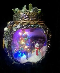 Beautiful OOAK Enchanted Christmas Top Hat for a Snowman Handcrafted Altered