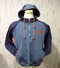 Fubu The Collection Zippered Pullover Hooded Sweatshirt Blue Orange Size Large