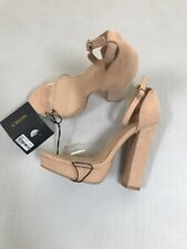 Forever 21 Suede Vinyl Chunky Heels Shoes Beige NEW NWT 7