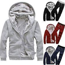 Men Fleece Warm Tracksuit Hooded Jacket Coat Sweater + Jogging Pants Outfit Set