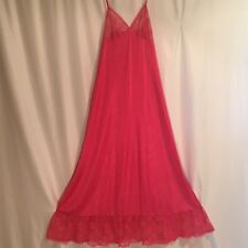 Vintage hot pink nightgown nylon huge lace hem