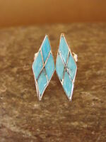 Zuni Indian Jewelry Sterling Silver Turquoise Inlay Post Earrings! By Wallace