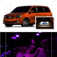 For Dodge Grand Caravan 2008-2015 Pink LED Interior Kit +White License Light LED